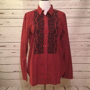 J. Crew plaid blouse with embroidery size 12